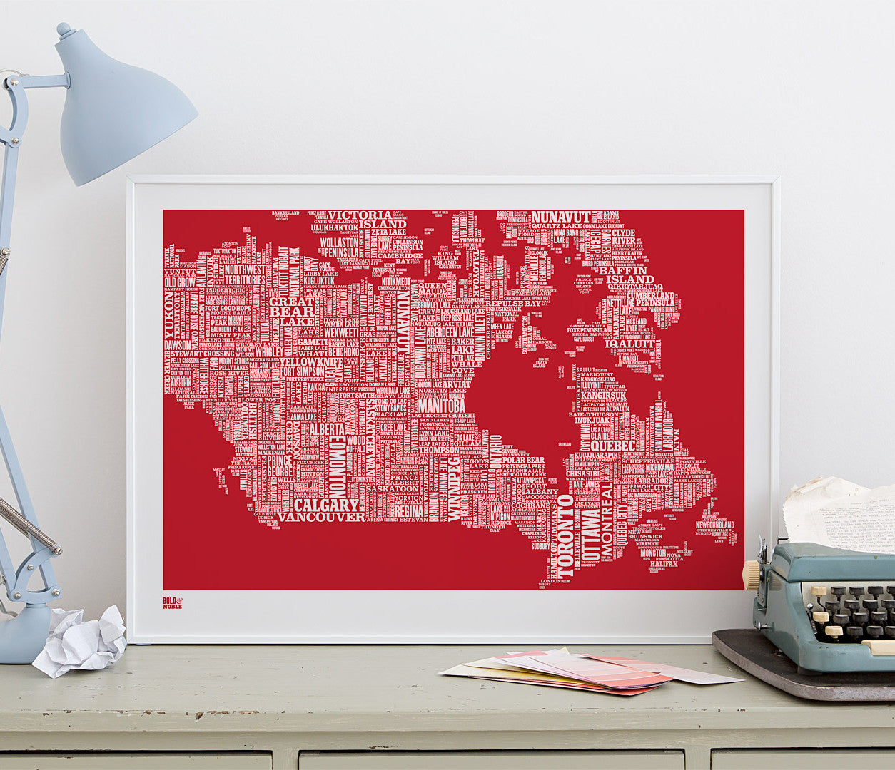 Wordle Canada Map Wall Art Print, Screen Printed in poppy red