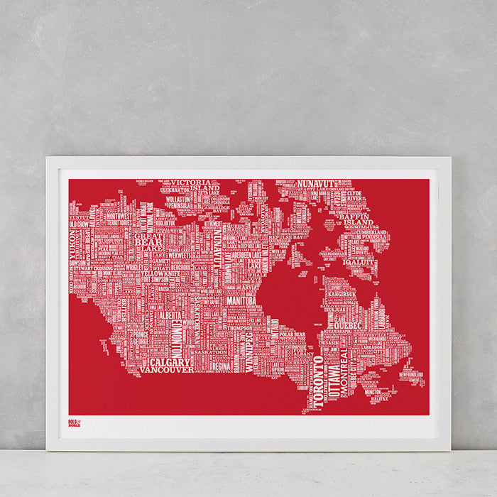 Canada Type Map in poppy red, screen printed on recycled card, delivered worldwide