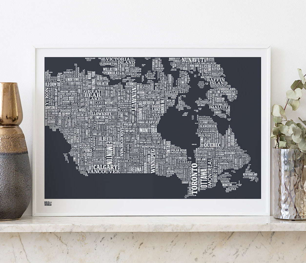 Wall art ideas, economical screen prints, Canada type map in sheer slate