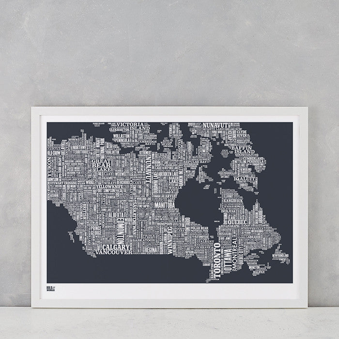 Canada Type Map in sheer slate, screen printed on recycled card, delivered worldwide