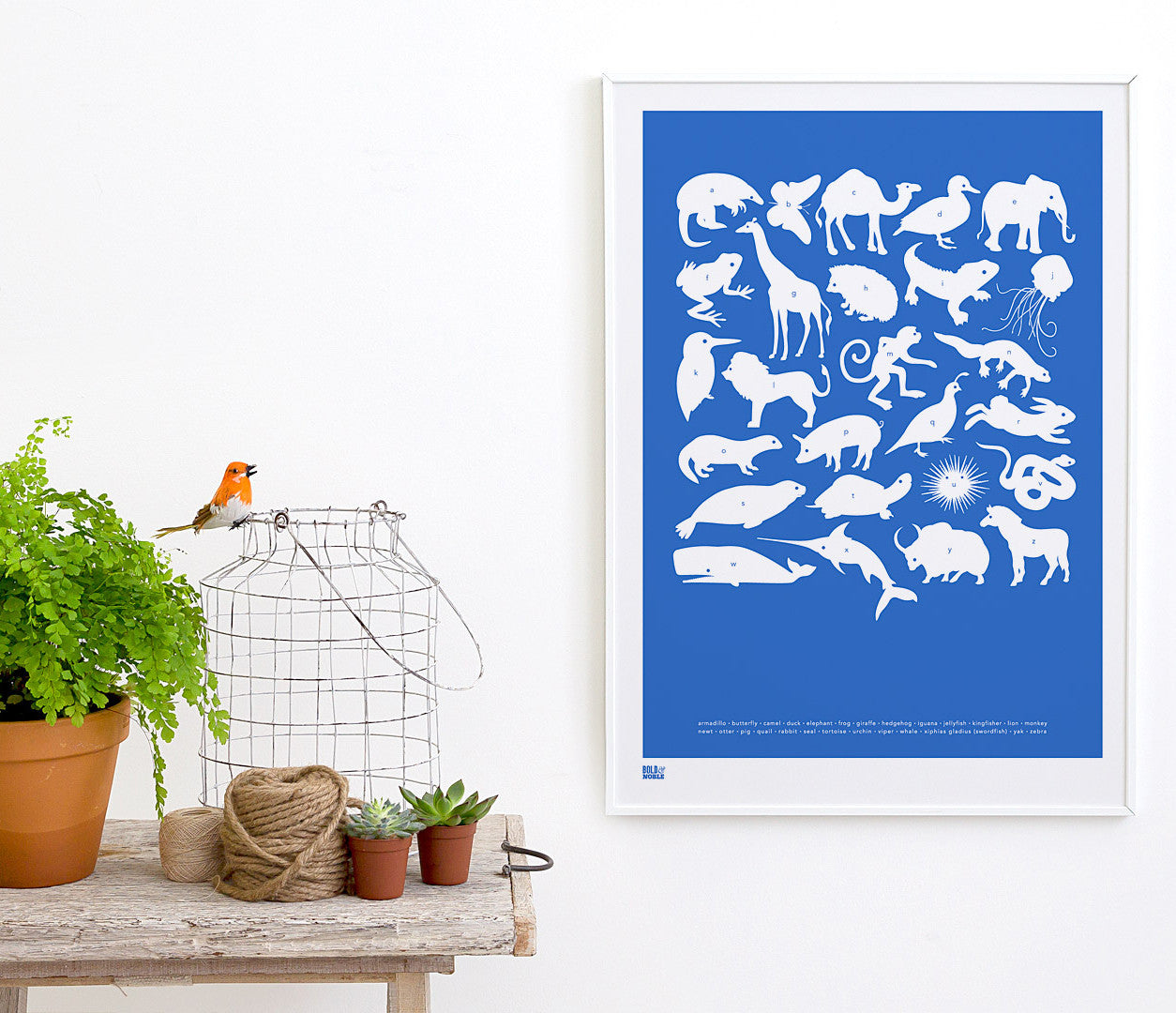 Wall art ideas, economical screen prints, Creatures A-Z kids print in cobalt blue
