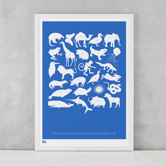 Creatures A-Z Screen Printed Kids Poster, in cobalt blue, delivered worldwide