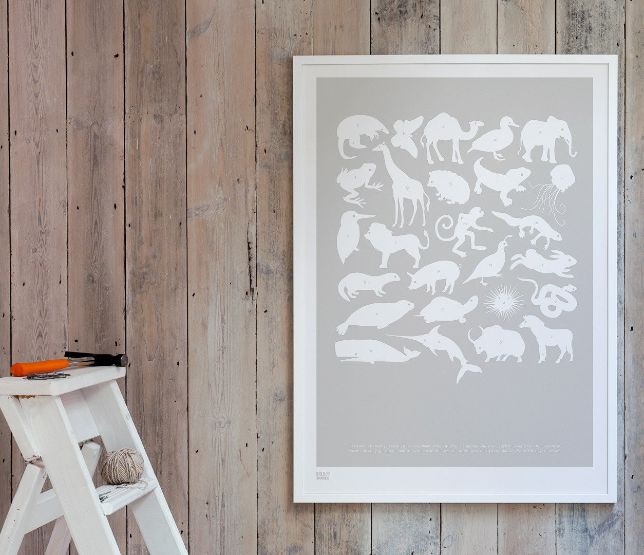 Pictures and wall art, screen printed Creatures A-Z Kids poster in chalk grey