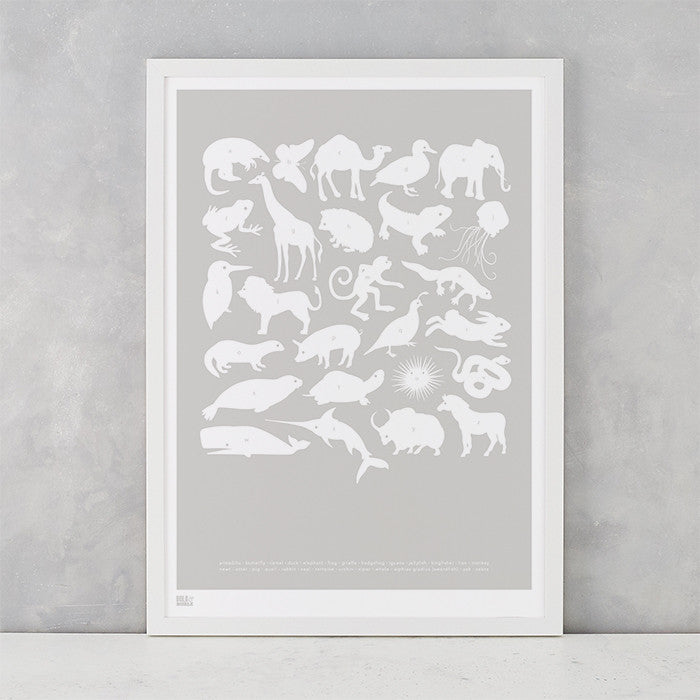 Creatures A-Z Screen Printed Kids Poster, in chalk grey, delivered worldwide