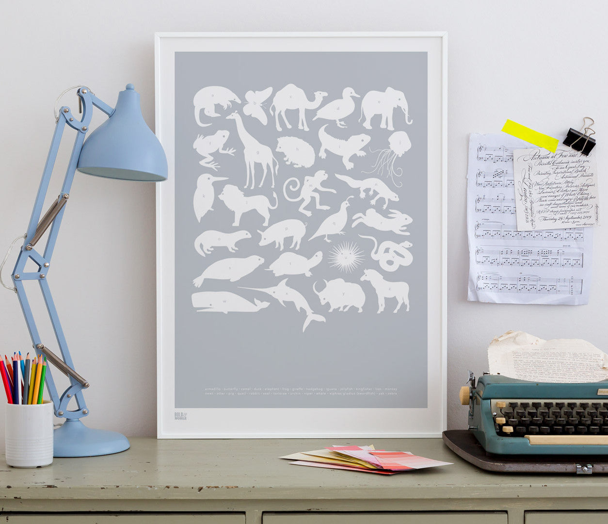 Wall art ideas, economical screen prints, Creatures A-Z kids print in silver