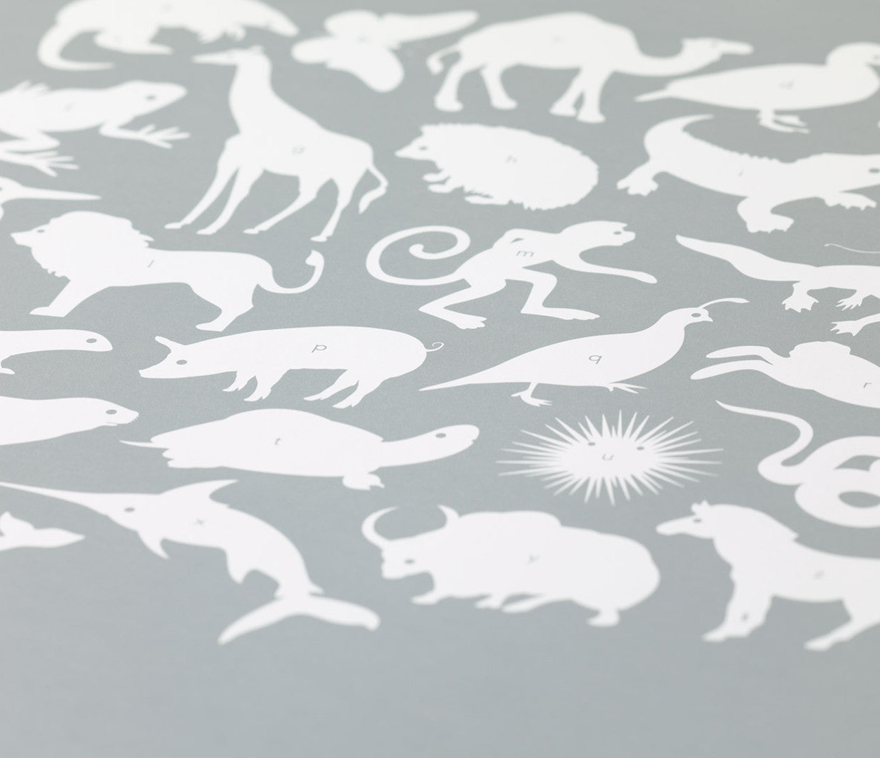 Close up of Creatures A-Z screen print in silver, economical kids wall art ideas