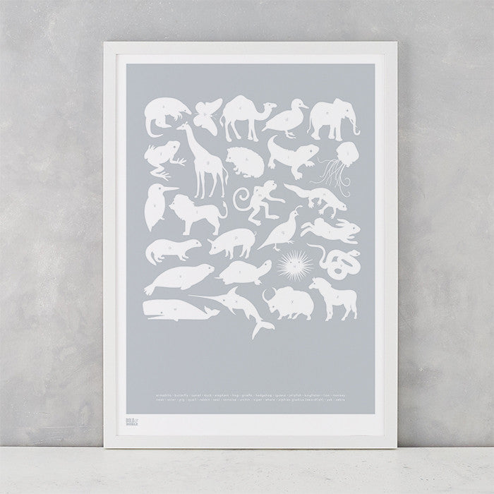 Creatures A-Z Screen Printed Kids Poster, in silver, delivered worldwide