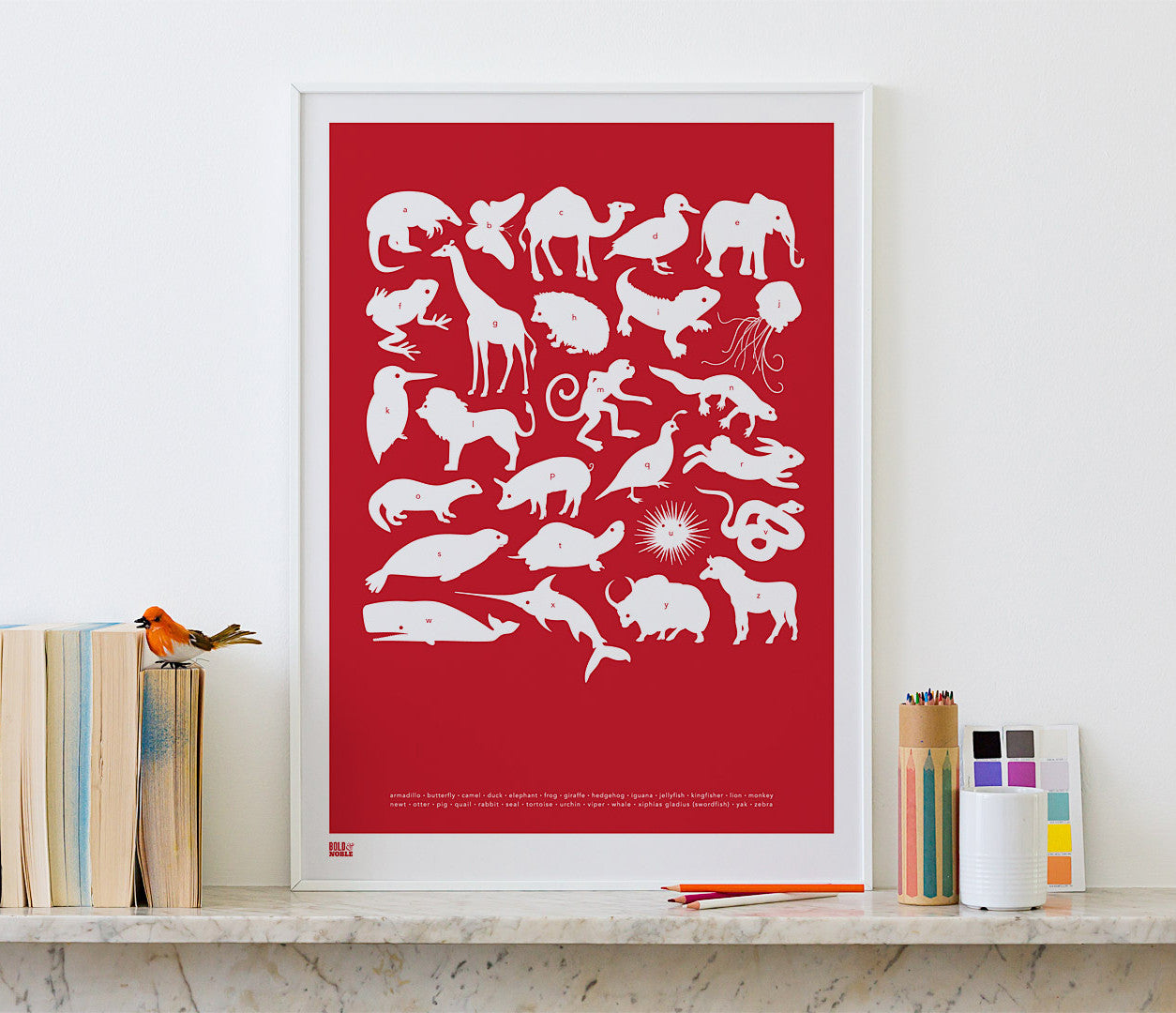 Pictures and wall art, screen printed Creatures A-Z poster in poppy red