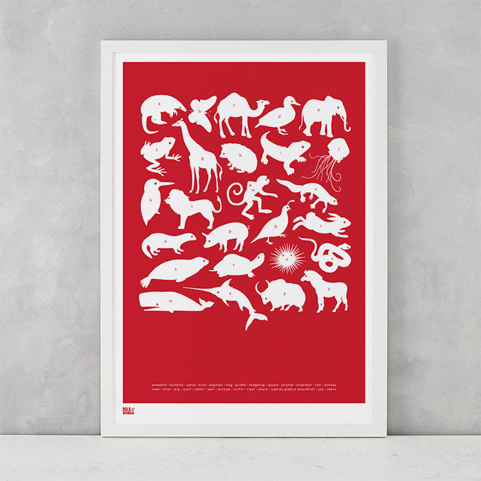 Creatures A-Z Screen Printed Kids Poster, in poppy red, delivered worldwide