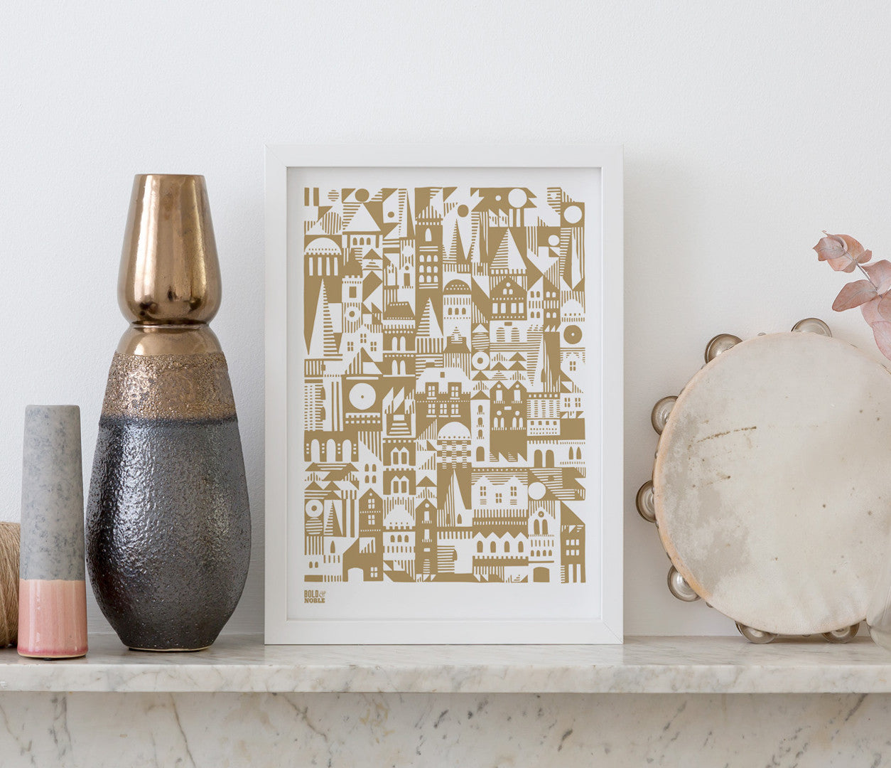 Pictures and Wall Art, Screen printed Coming Home Geometric design in bronze