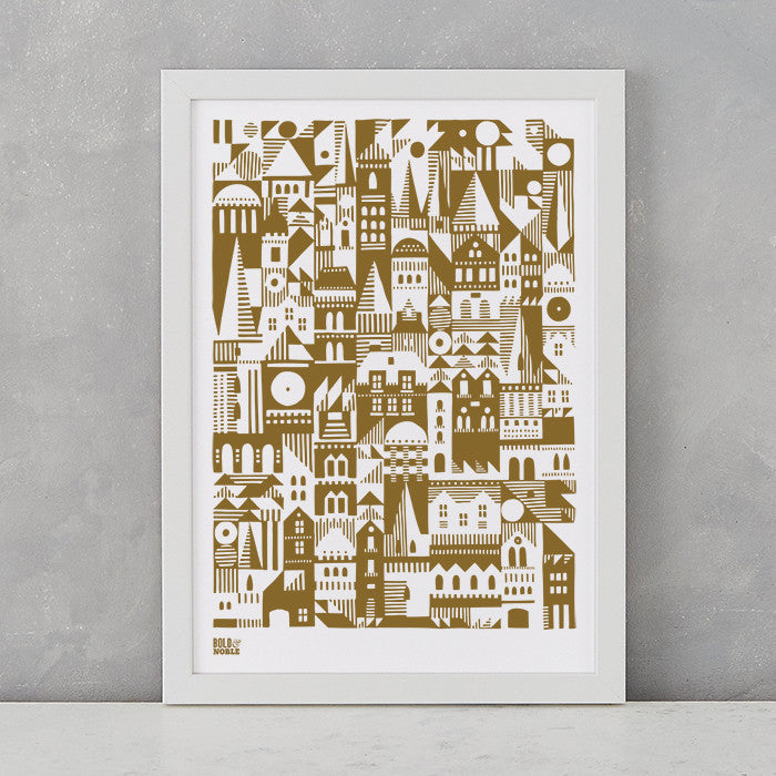 Coming Home Geometric Print in Bronze, A4 print on recycled paper, delivered worldwide