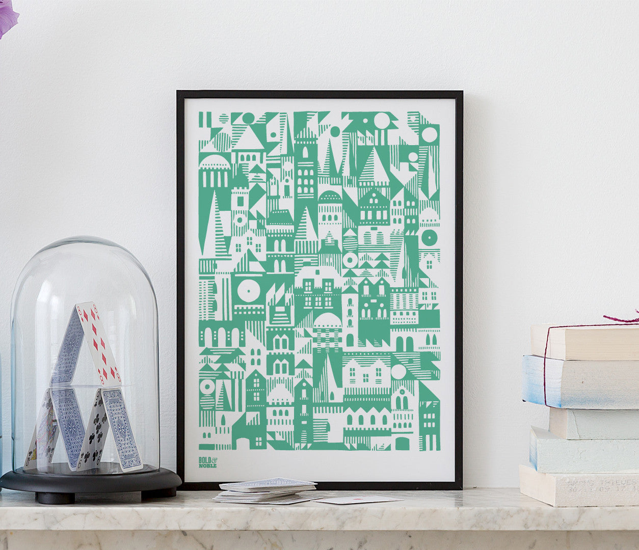 'Coming Home' Geometric Art Print in Emerald Green