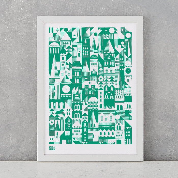 Coming Home Geometric Print in green, A4 print on recycled paper, delivered worldwide