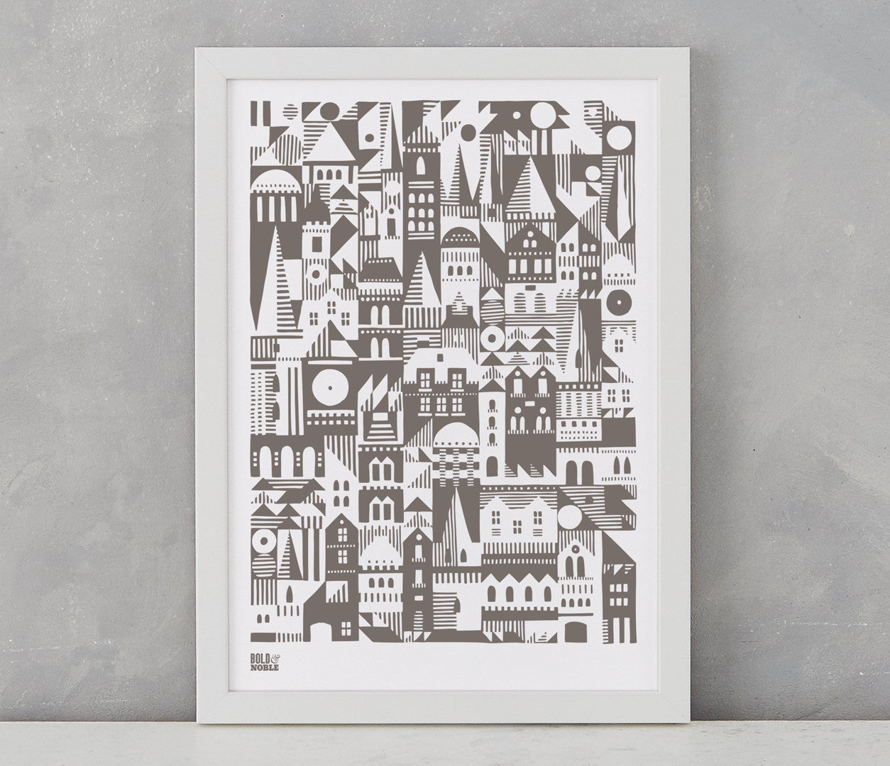 Pictures and wall art, screen printed Coming Home Geometric design in mouse grey