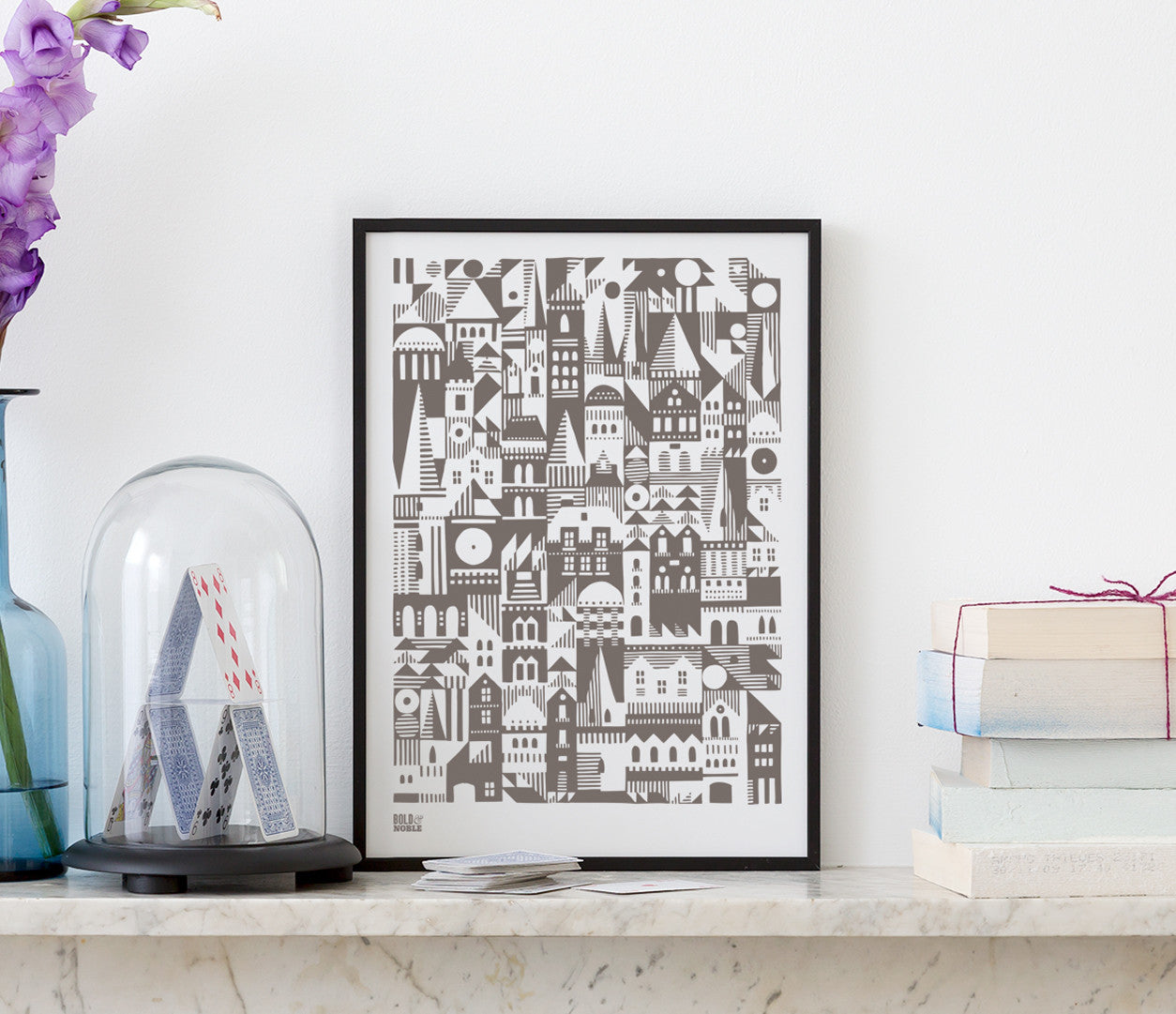 Wall art ideas, economical screen prints, Coming Home Geometric Print in mouse grey