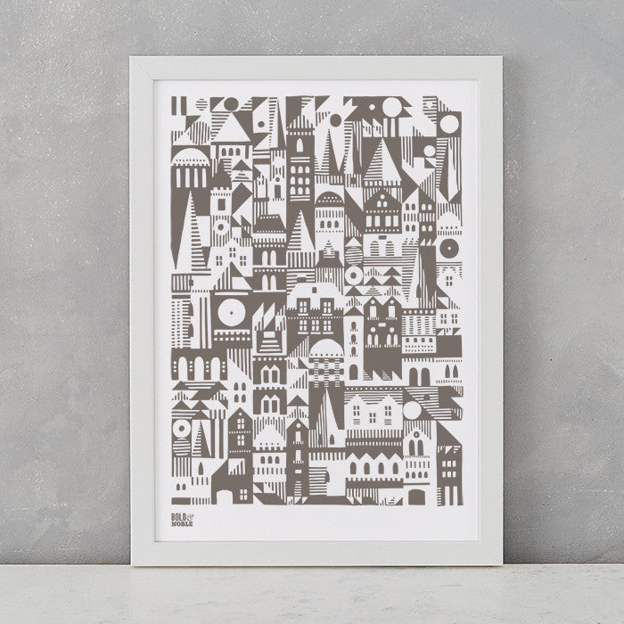 Coming Home Geometric Print in mouse grey, A4 print on recycled paper, delivered worldwide