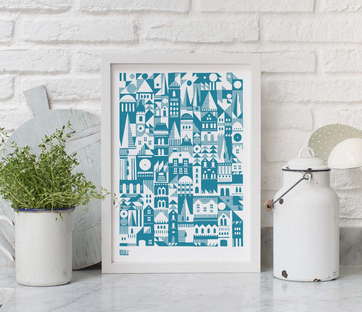 Wall art ideas, economical screen prints, Coming Home Geometric print in teal blue