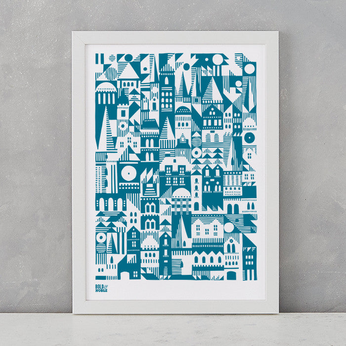 Coming Home Geometric Print in Teal blue, A4 print on recycled paper, delivered worldwide