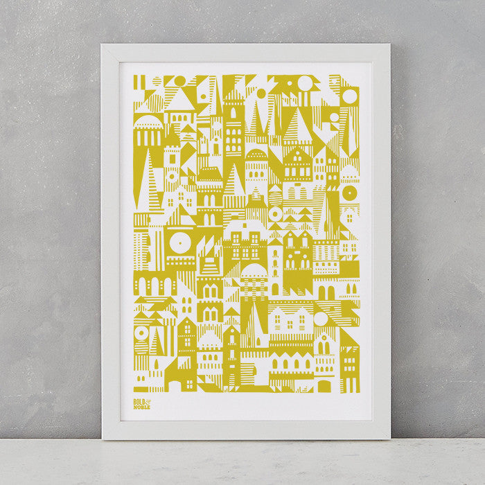 Coming Home Geometric Print in yellow moss, A4 print on recycled paper, delivered worldwide