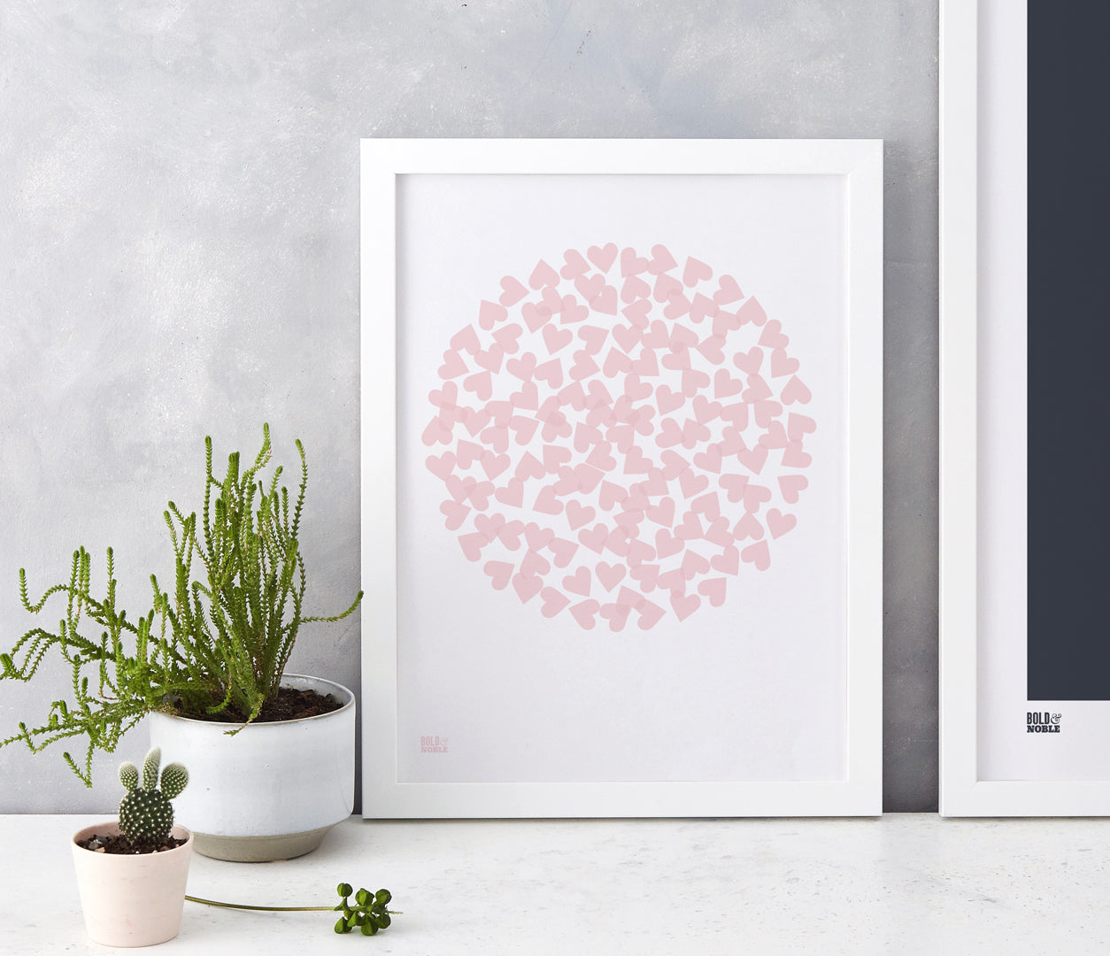 'Confetti Heart' Art Print in Blush Pink