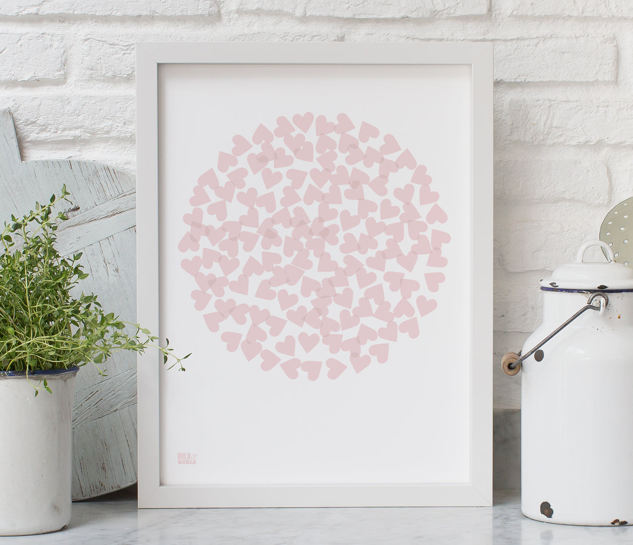 'Confetti Heart Circle' Art Print in Blush Pink