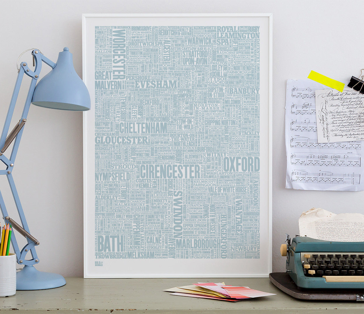 Wall art ideas, economical screen prints, Cotswolds type map in duck egg blue