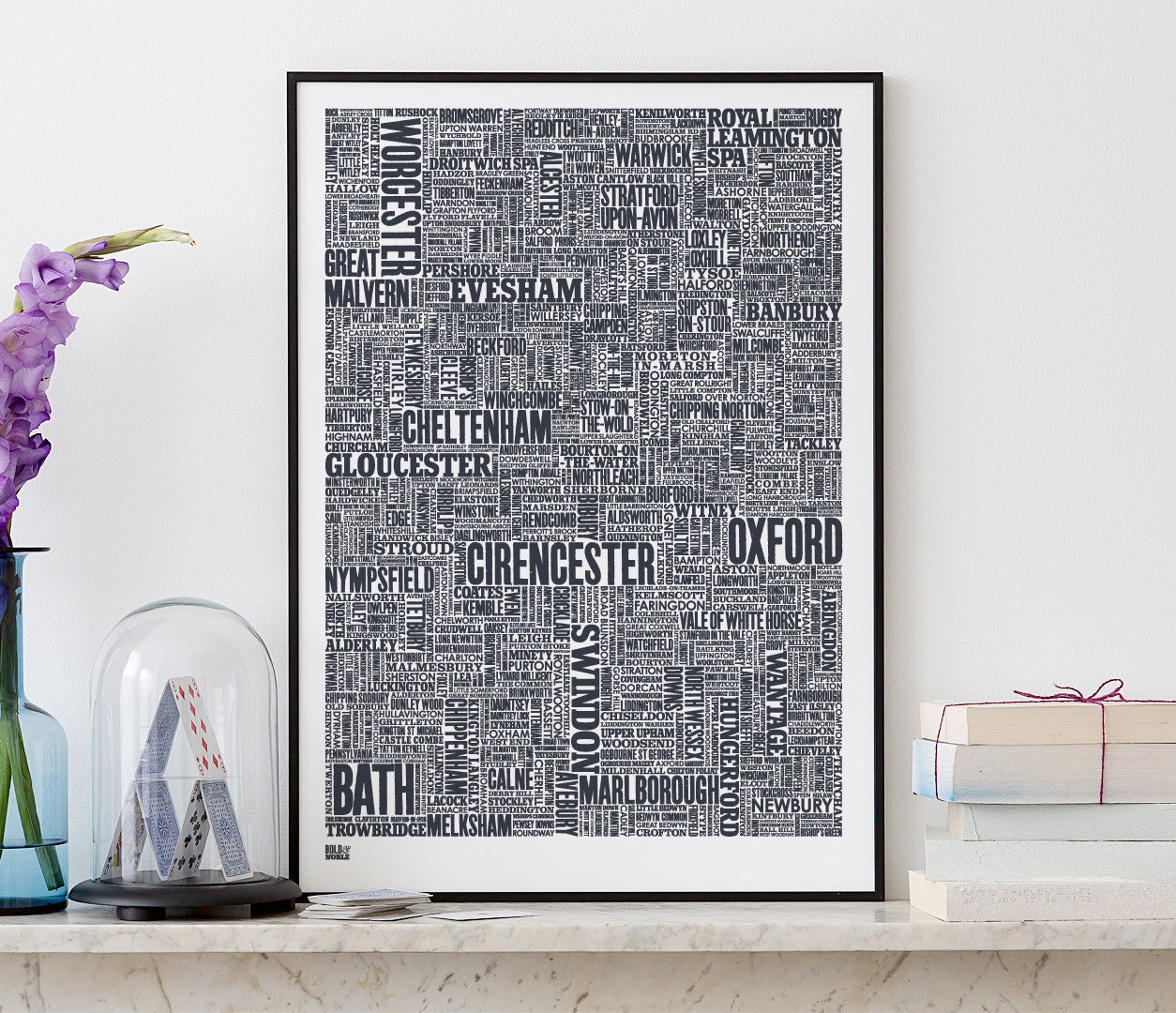 Wall art ideas, economical screen prints, Cotswolds type map in sheer slate