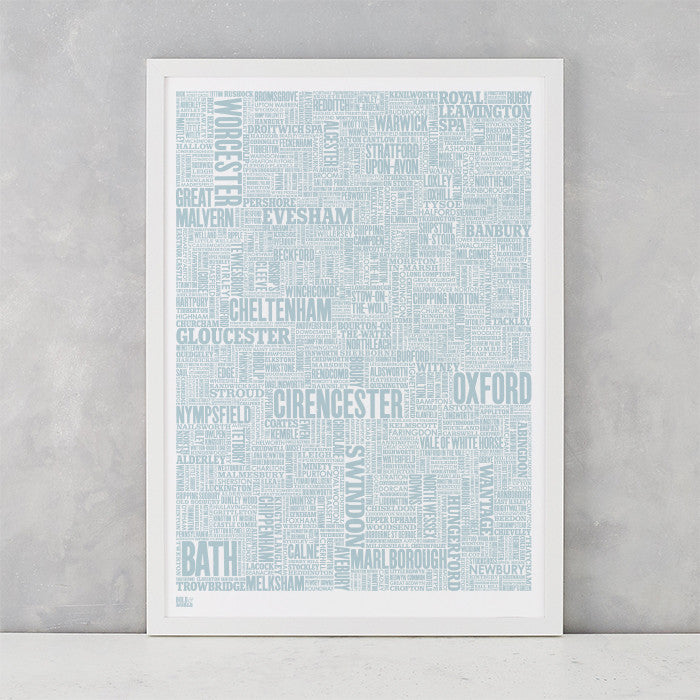 Cotswolds Type Map in duck egg blue, screen printed on recycled card, delivered worldwide