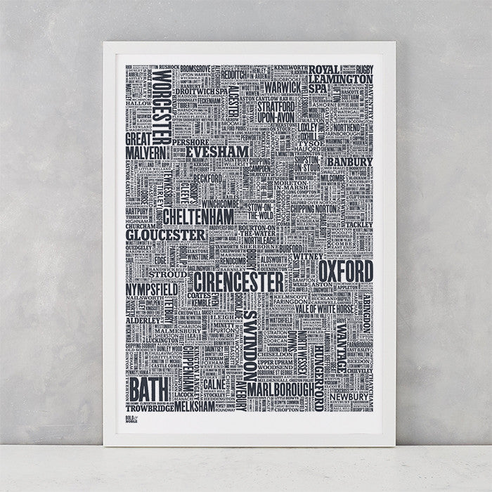 Cotswolds Type Map in sheer slate, screen printed on recycled card, delivered worldwide
