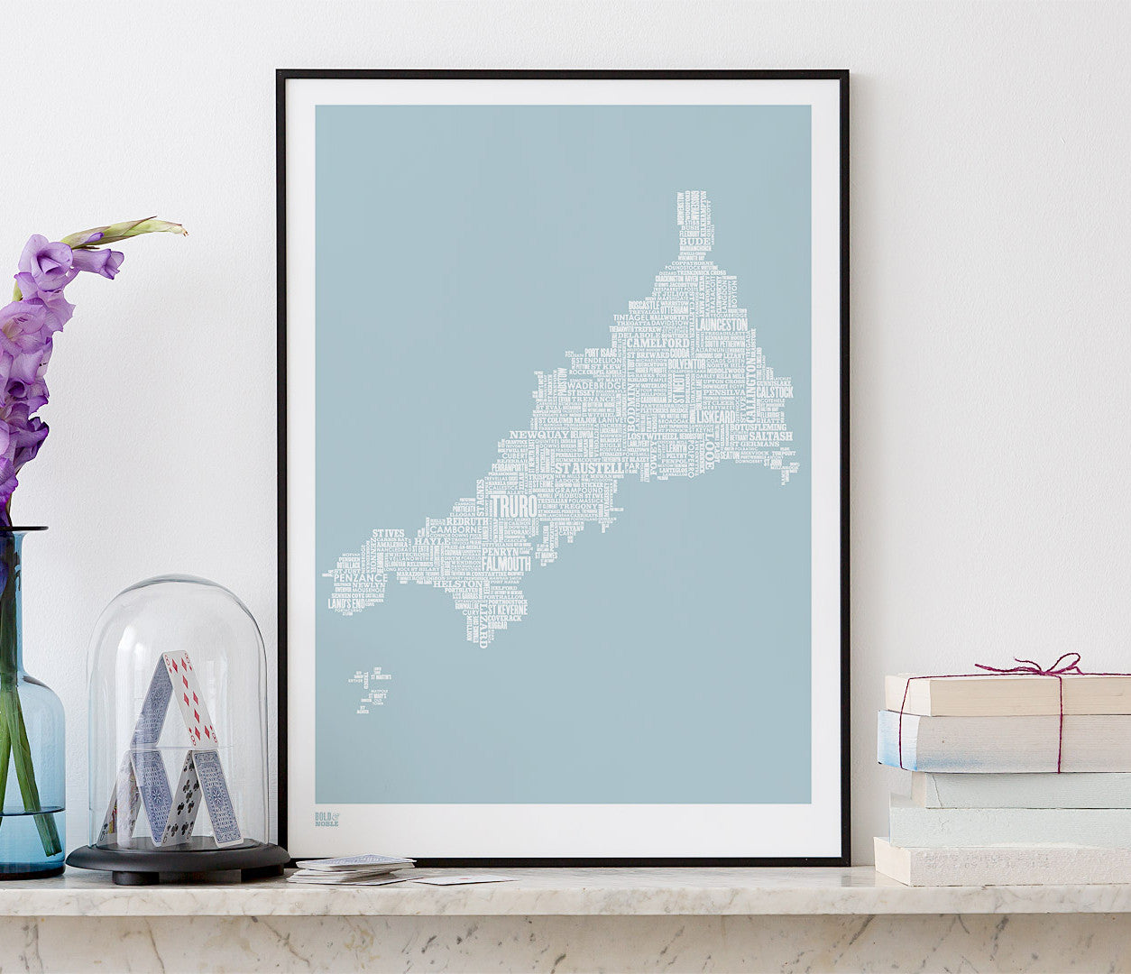 Wordle Cornwall Map Wall Art Print, Screen Printed in duck egg blue