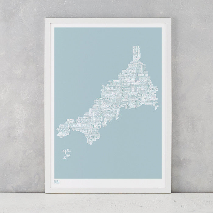 Cornwall Type Map in duck egg blue, screen printed on recycled card, delivered worldwide
