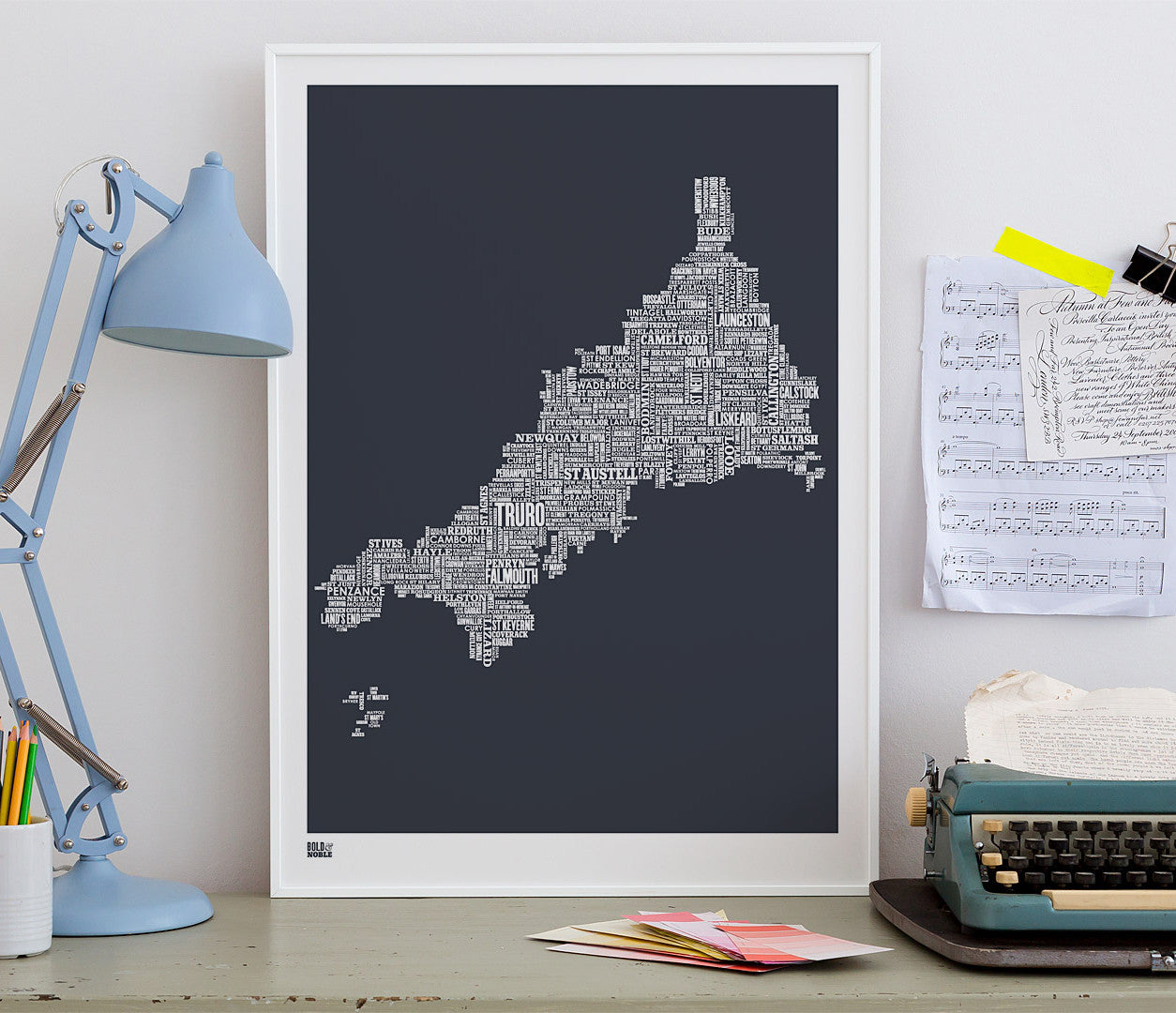 Wall art ideas, economical screen prints, Cornwall type map in sheer slate