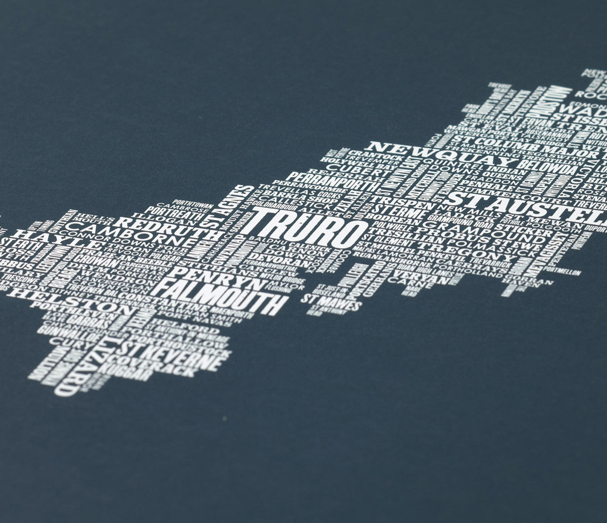 Close up of Cornwall Type Map screen print in sheer slate