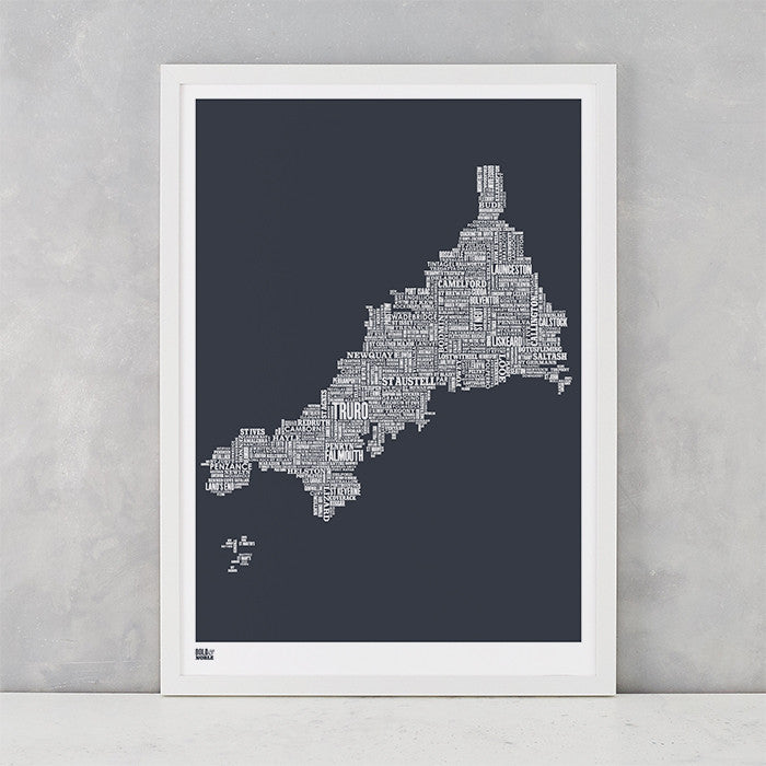 Cornwall Type Map in sheer slate, screen printed on recycled card, delivered worldwide