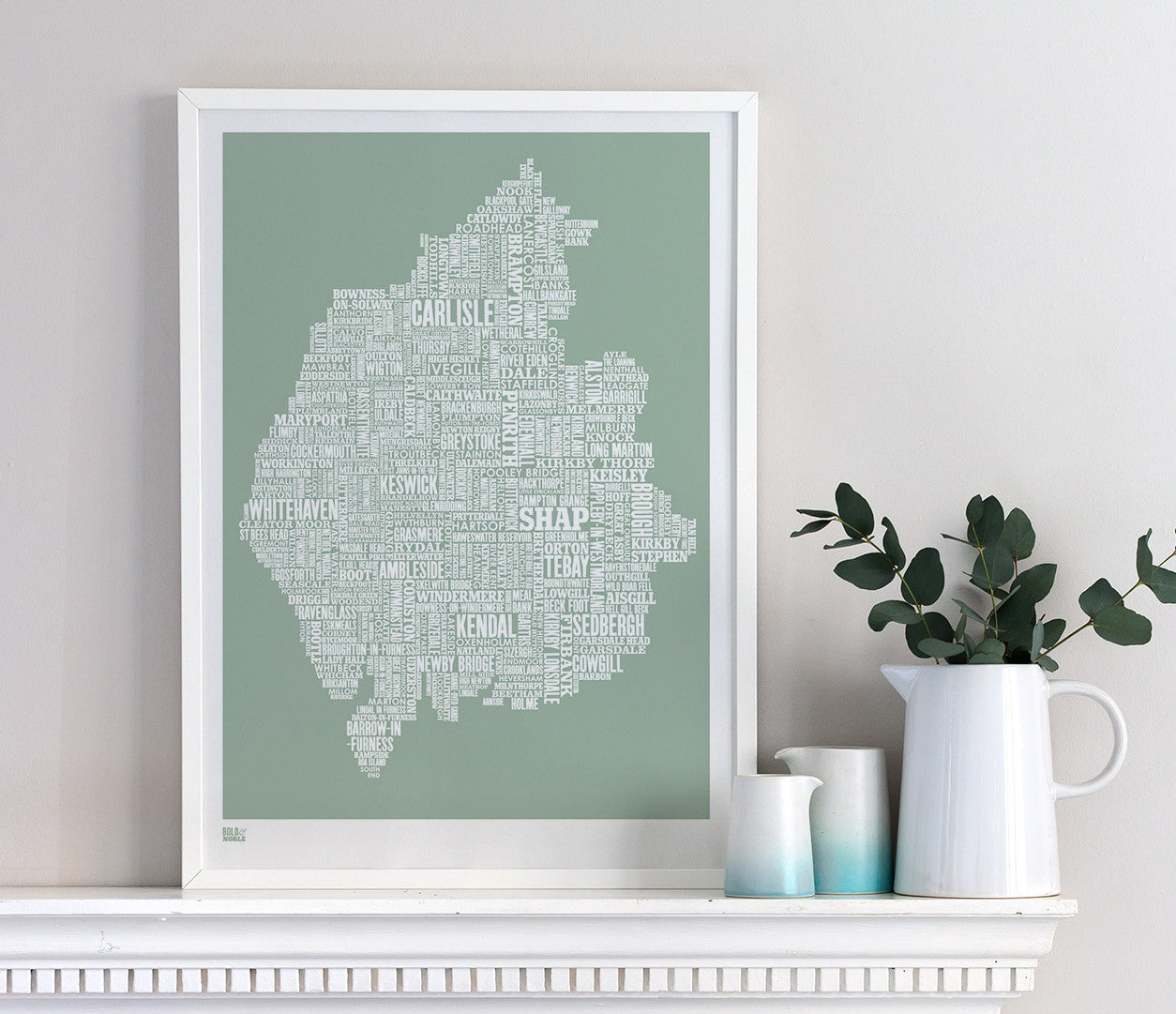 Wall art ideas, economical screen prints, Cumbria type map in seafoam green