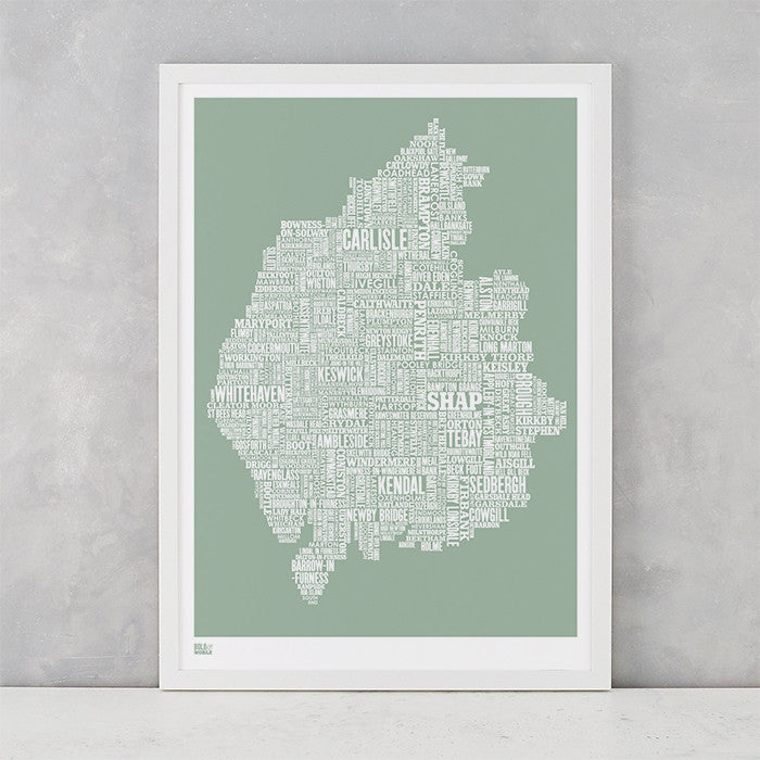 Cumbria Type Map in seafoam green, screen printed on recycled card, delivered worldwide