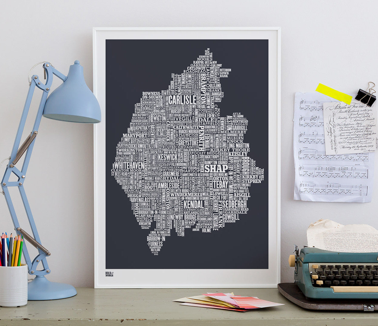 Wall art ideas, economical screen prints, Cumbria type map in sheer slate