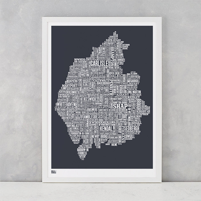 Cumbria Type Map in sheer slate, screen printed on recycled card, delivered worldwide