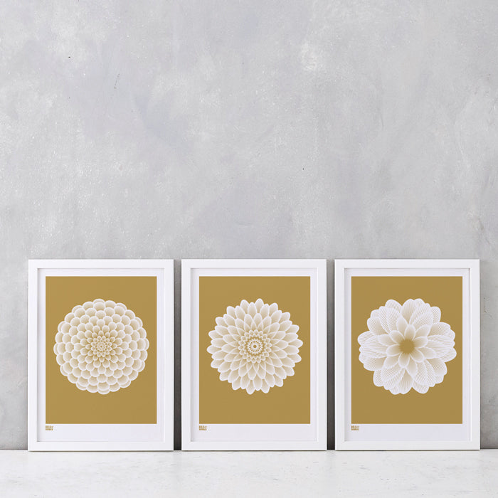 Dahlias: Set of 3 Prints in Metallic Bronze