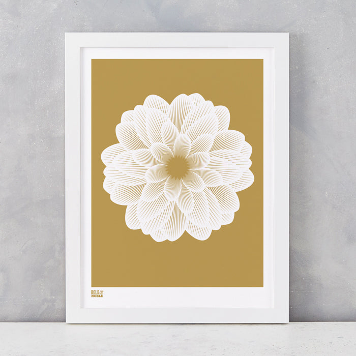 Dahlia Peony screen print in bronze, recycled card, delivered worldwide