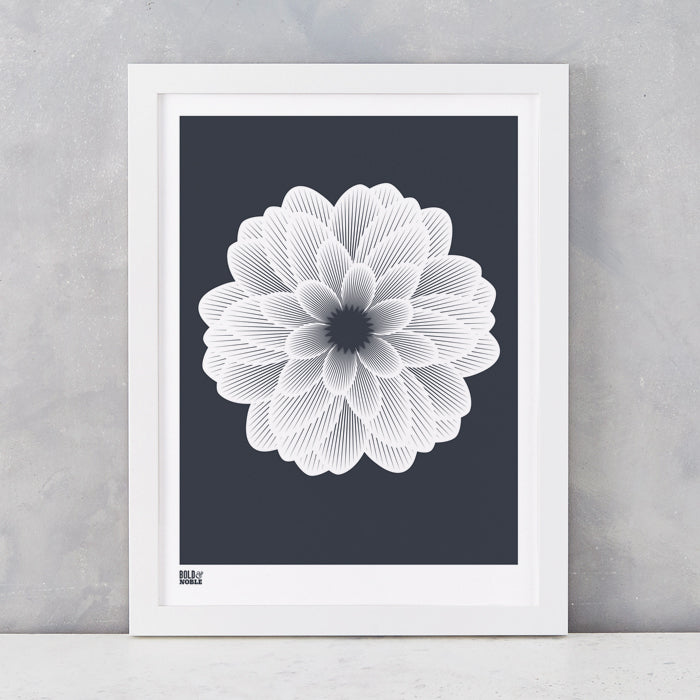 Dahlia Peony screen print in sheer slate, recycled card, delivered worldwide