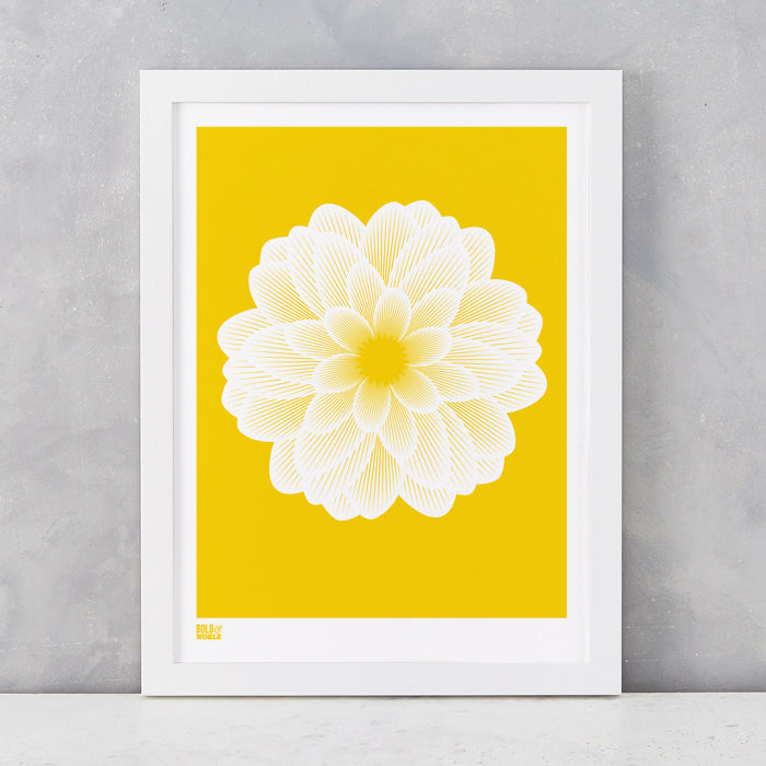 Dahlia Peony screen print in bright yellow, recycled card, delivered worldwide