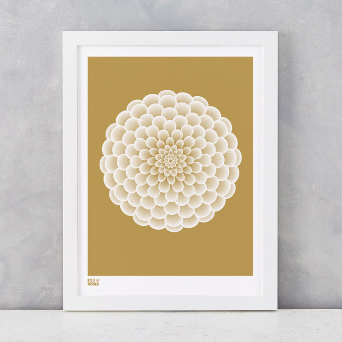 Dahlia Peony screen printed on recycled card, in bronze, delivered worldwide