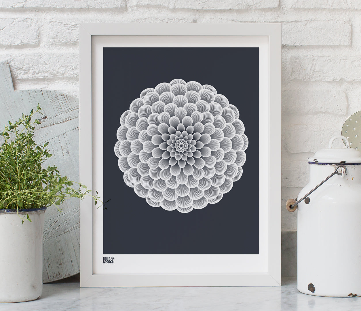 Pictures and Wall Art, Screen Printed Dahlia Pompon in Sheer Slate