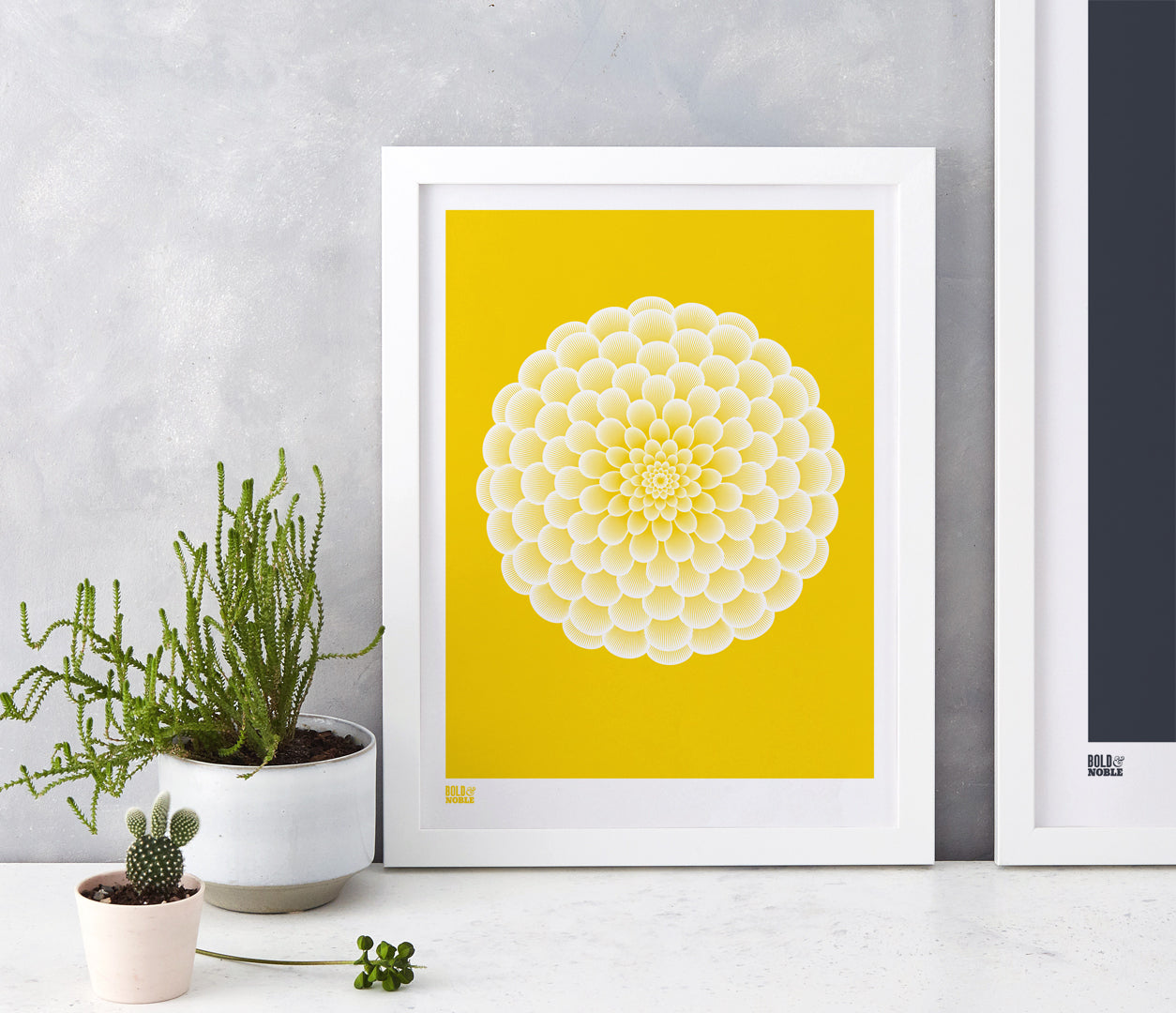 Wall Art ideas: Economical Screen Prints, Dahlia Pompon in bright yellow