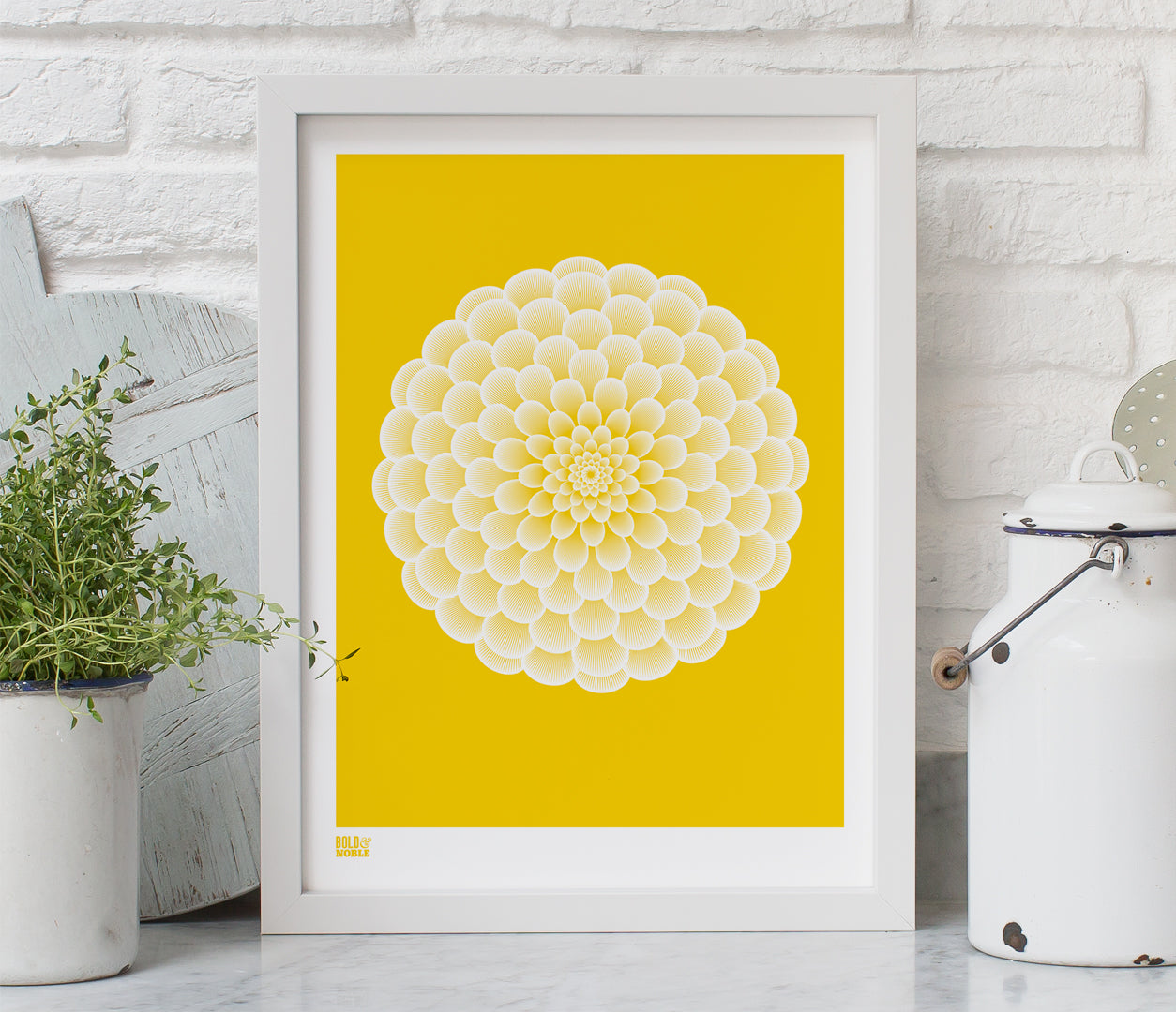Pictures and Wall Art, Screen Printed Dahlia Pompon in Bright Yellow
