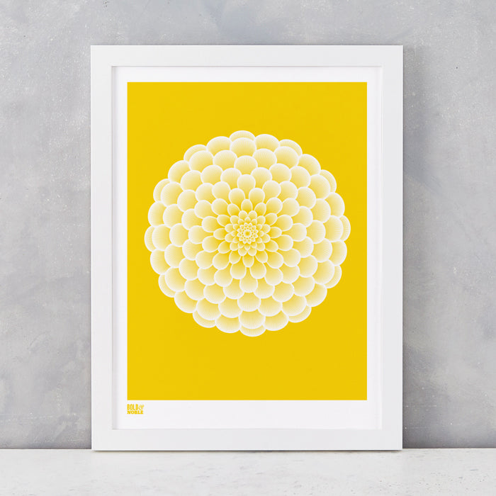 Dahlia Peony screen printed on recycled card, in bright yellow, delivered worldwide