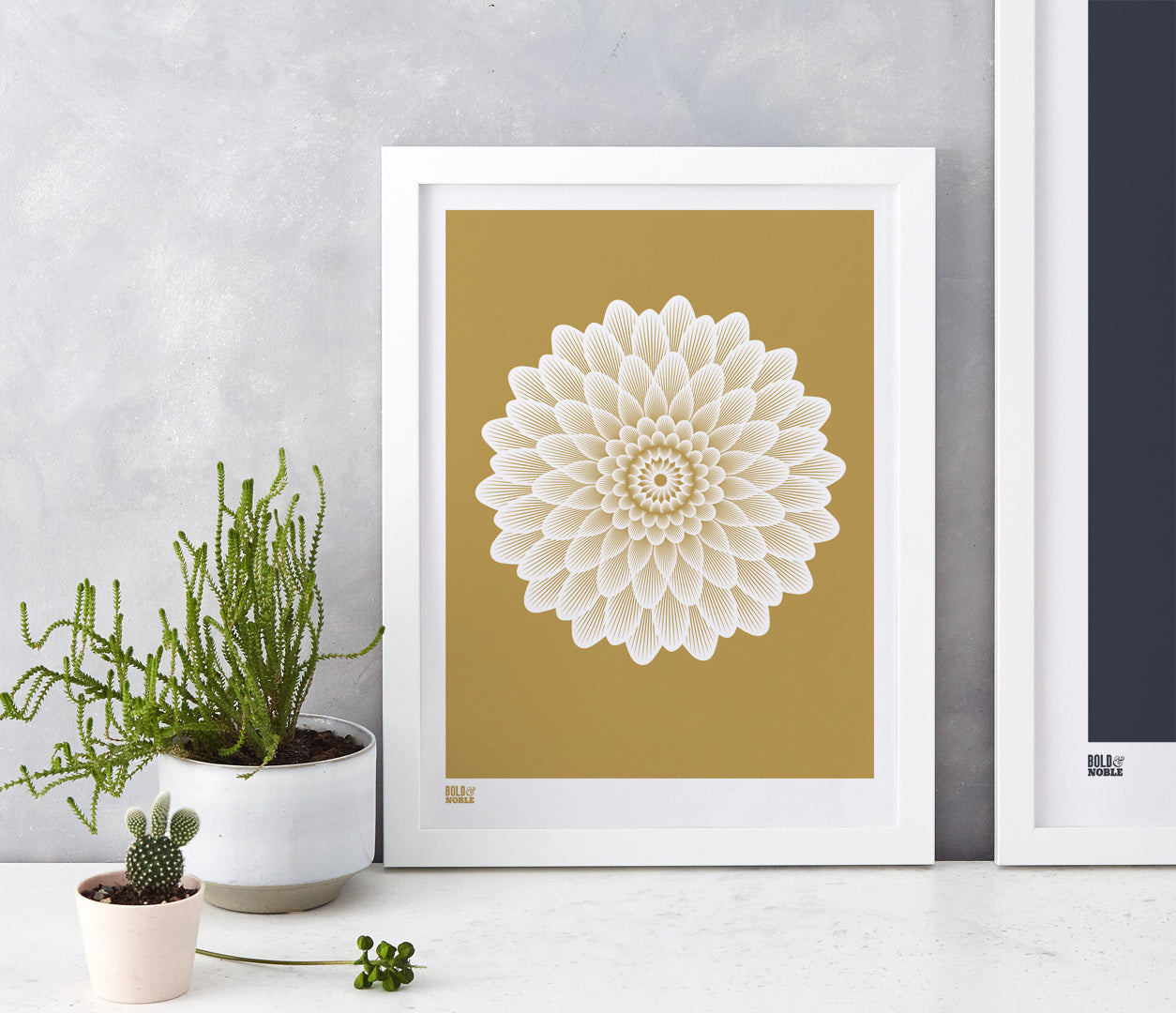 Pictures and Wall Art, Screen Printed Dahlia Waterlily in Bronze
