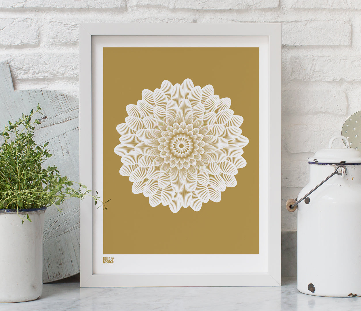 Wall Art ideas: Economical Screen Prints, Dahlia Waterlily in bronze