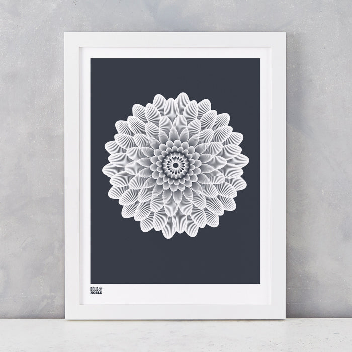 Dahlia Waterlily screen printed on recycled card, in sheer slate, delivered worldwide